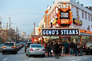 Geno's Steaks at the ancestral home of the cheesesteak in South Philadelphia