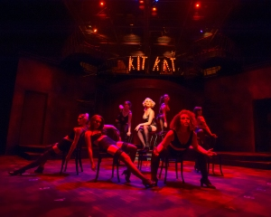Sally Bowles (Ali Wood Moser) and her performing cohorts of Berlin's early 1930's Kit Kat Klub entice you to forget your cares in CABARET, presented by UA Arizona Repertory Theatre, Oct 18 – Nov 8, 2015 (photo by Ed Flores).